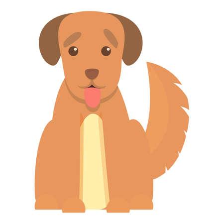 Playful dog happy icon, cartoon style