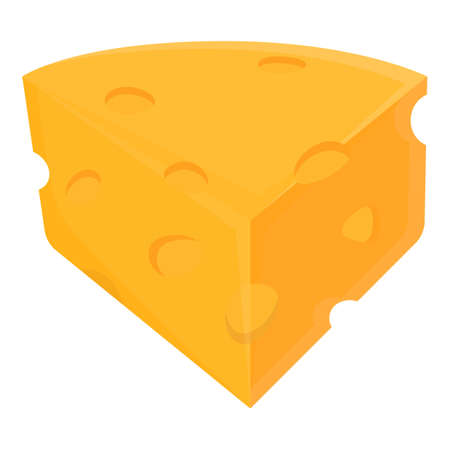 Piece of cheese icon, cartoon style