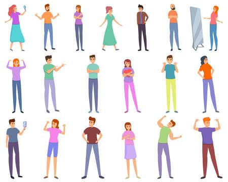 Self-esteem icons set, cartoon style