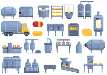 Cheese production icons set, cartoon style Vectores