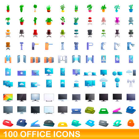100 office icons set, cartoon style