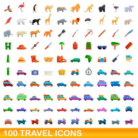 100 travel icons set, cartoon style 向量圖像