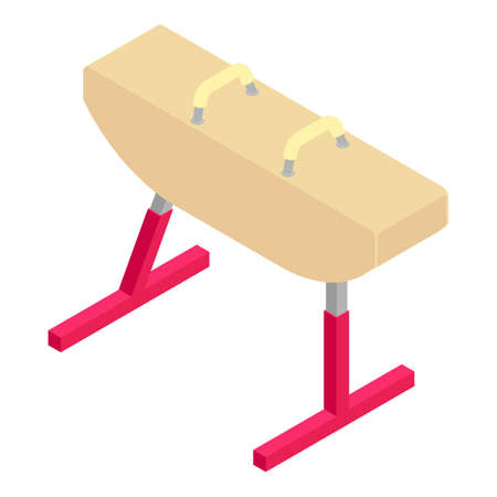 Gymnastics pommel horse icon, isometric style