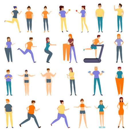 Slimming icons set, cartoon style