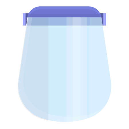 Clean face shield icon, cartoon style