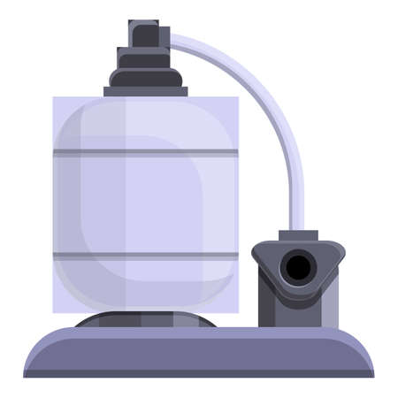 Pool pumping station icon, cartoon style