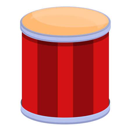Drum icon, cartoon style