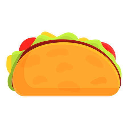 Delicious tacos icon, cartoon style