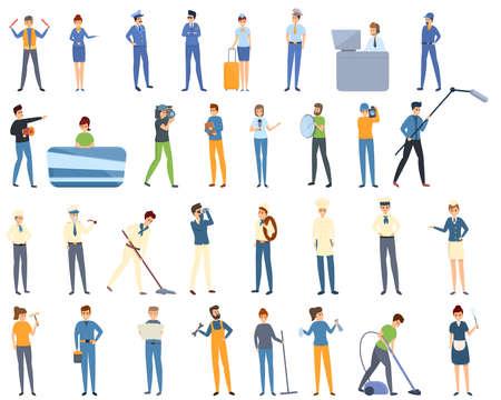 Crew icons set, cartoon style