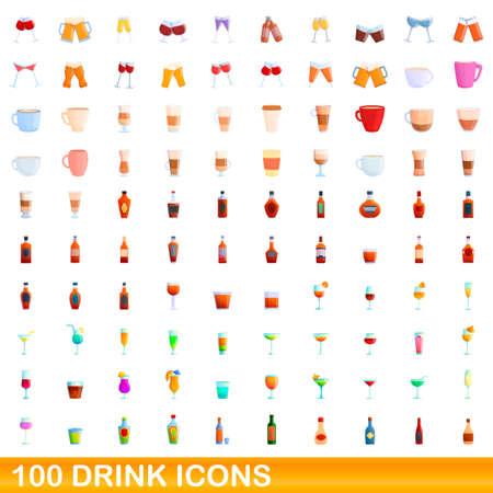 100 drink icons set, cartoon style