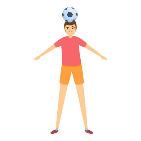 Boy head play soccer icon, cartoon style