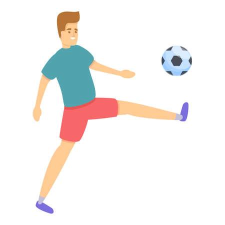 Boy foot play soccer icon, cartoon style Illusztráció