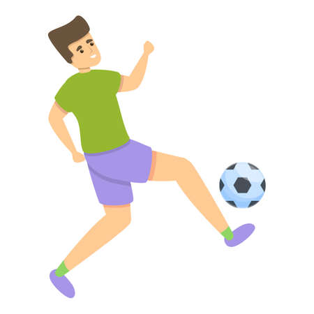 Kid hit ball soccer icon, cartoon style