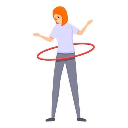 Woman fitness circle icon, cartoon style