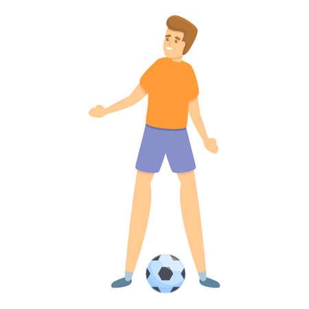 Boy play soccer icon, cartoon style