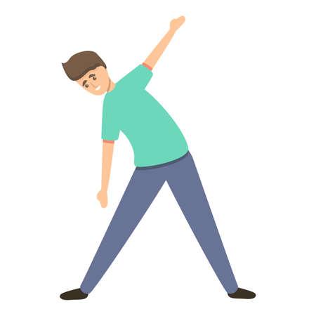 Kid morning exercise icon, cartoon style