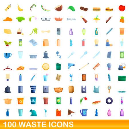 100 waste icons set, cartoon style