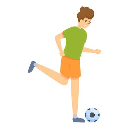 Boy running play soccer icon, cartoon style