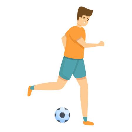 Kid soccer dribbling icon, cartoon style Illusztráció