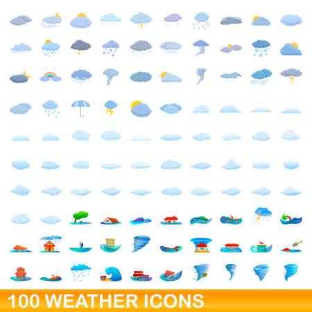 100 weather icons set, cartoon style