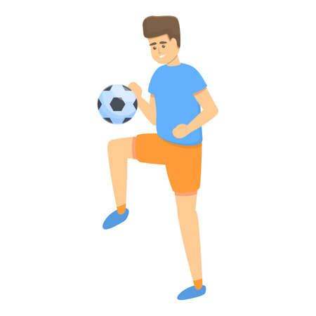 Children juggles ball soccer icon, cartoon style