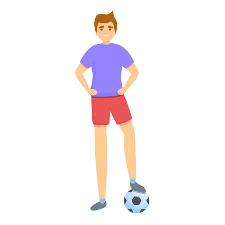 Kid ready soccer ball icon, cartoon style Illusztráció