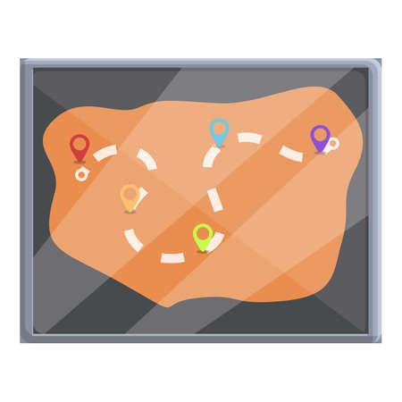 Glass itinerary icon, cartoon style Illusztráció