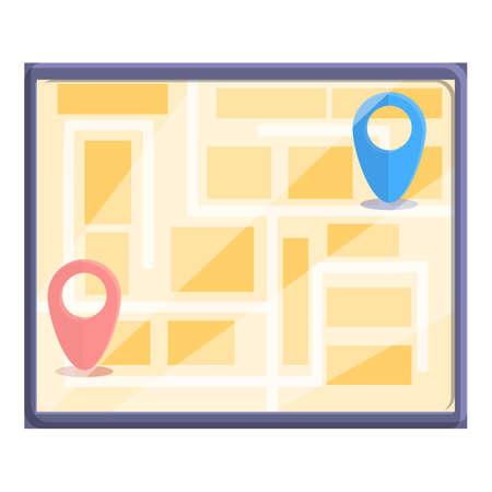 City itinerary icon, cartoon style