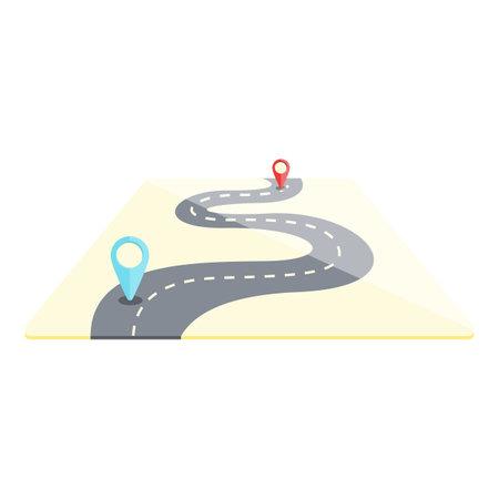 Road itinerary icon, cartoon style