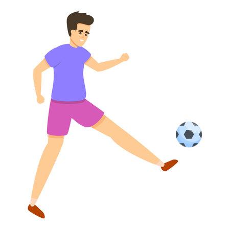 Kid play soccer icon, cartoon style