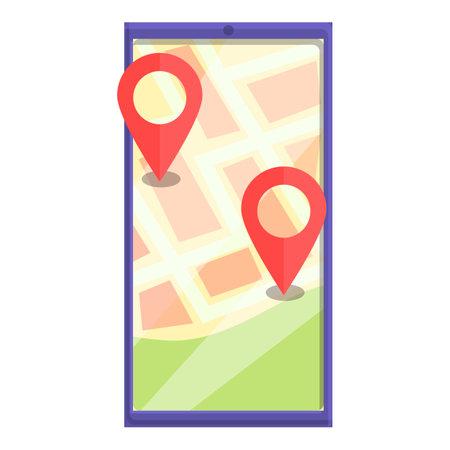Gps itinerary icon, cartoon style