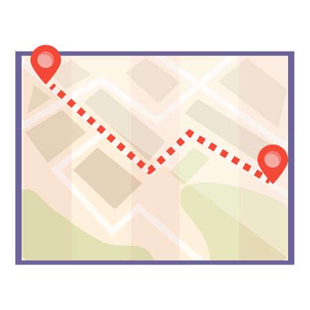 Guidebook itinerary icon, cartoon style Illusztráció