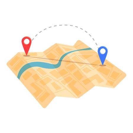 Cartography itinerary icon, cartoon style Illusztráció