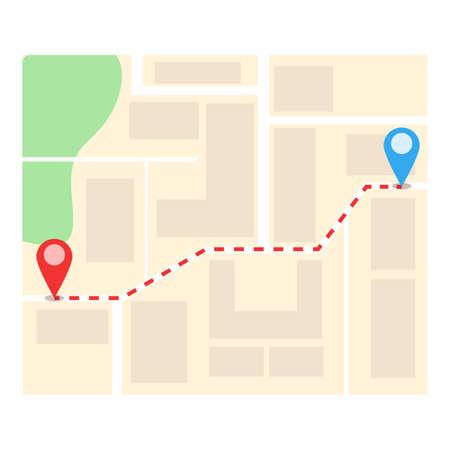 Point itinerary icon, cartoon style