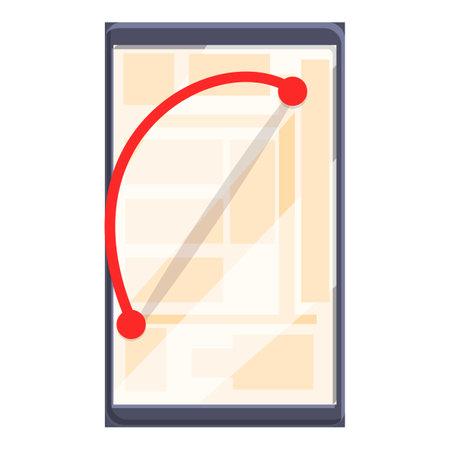 Red route itinerary icon, cartoon style Illusztráció