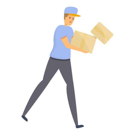 Careless postman icon, cartoon style
