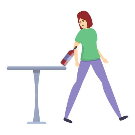 Careless girl bottle icon, cartoon style Illusztráció