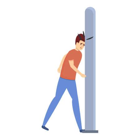 Careless man pillar icon, cartoon style Illusztráció