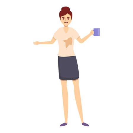 Careless office coffee icon, cartoon style Illusztráció