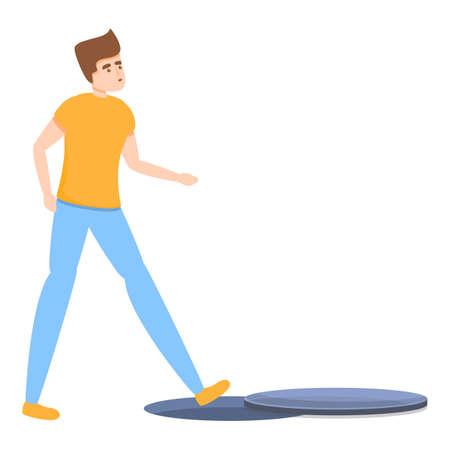Careless man canalization icon, cartoon style