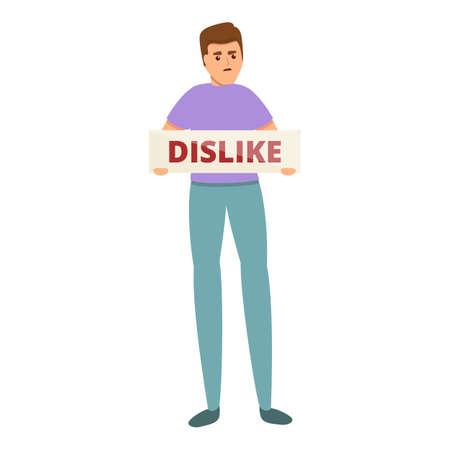 Dislike man banner icon, cartoon style Illusztráció