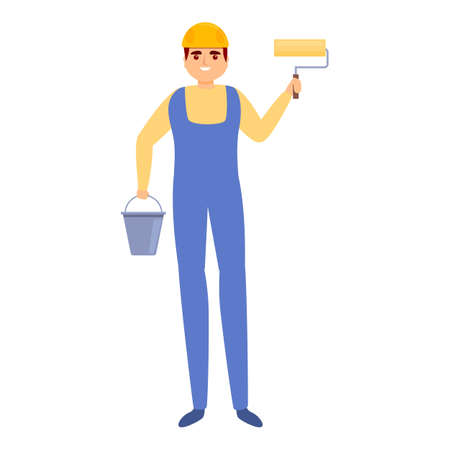 Builder paint roll icon, cartoon style