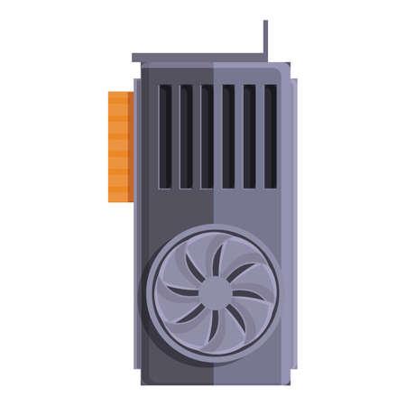 Computer gpu card icon, cartoon style