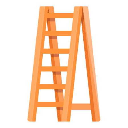Wooden ladder icon, cartoon style