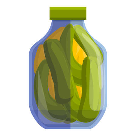 Pickled cucumbers icon, cartoon style