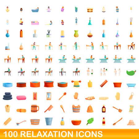 100 relaxation icons set, cartoon style