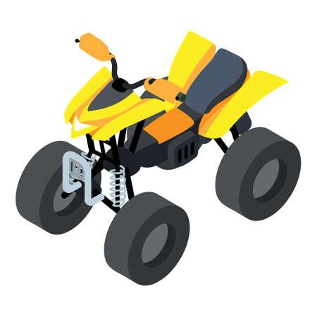 Racing quad bike icon, isometric style