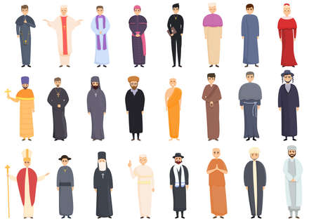 Priest icons set. Cartoon set of priest vector icons for web design