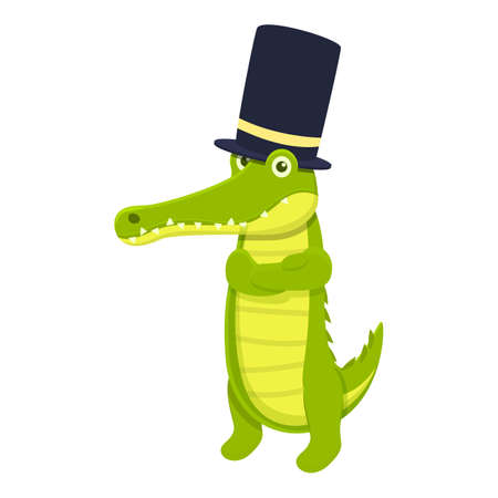 Top hat crocodile icon. Cartoon of Top hat crocodile vector icon for web design isolated on white background