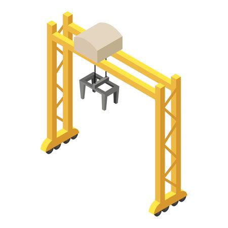 Railway modern crane icon. Isometric of Railway modern crane vector icon for web design isolated on white background Vector Illustration
